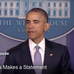 President Barack Obama speaks in the White House press room on April 23, 2015, regarding a counterterrorism strike that accidentally killed an American and an Italian hostage. (Screen shot from WhiteHouse.gov)