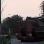 "A screen shot from a video of a suspected BUK missile battery traveling on a road in eastern Ukraine after the July 17, 2014 shoot-down of Malaysia Airlines Flight 17. (As shown in Australia's ""60 Minutes"" program.)"