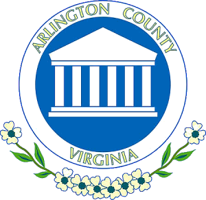 The seal of Arlington County, Virginia, highlighting the colonnade of Robert E. Lee's mansion.