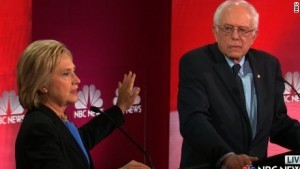 Former Secretary of State Hillary Clinton confronts Sen. Bernie Sanders in Democratic presidential debate on Jan. 17, 2016.