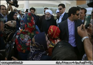 Iranian President Hassan Rouhani meeting a group of Iranian citizens. (Iranian government photo)