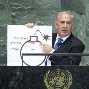"Israeli Prime Minister Benjamin Netanyahu at the United Nations in 2012, drawing his own ""red line"" on how far he will let Iran go in refining nuclear fuel."