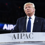 Republican presidential candidate Donald Trump speaking to the AIPAC conference in Washington D.C. on March 21, 2016. (Photo credit: AIPAC)