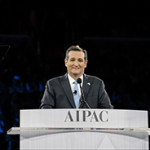 Sen. Ted Cruz, R-Texas, a presidential contender, addressing the American Israel Public Affairs Committee on March 21, 2016, (Photo credit: AIPAC)