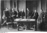 German delegates at the Versailles peace conference that brought World War I to an end but planted the seeds for World War II. (Photo credit: German Federal Archives)