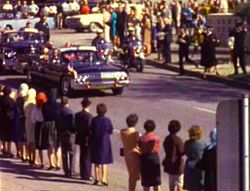 President John F. Kennedy's motorcade enters Dealey Plaza in Dallas on Nov. 22, 1963, shortly before his assassination. (Zapruder film)