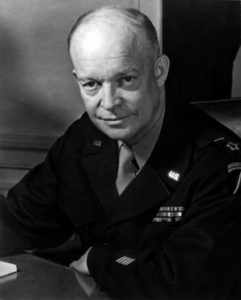 General Dwight D. Eisenhower, Supreme Allied Commander, at his headquarters in the European theather of operations.  He wears the five-star cluster of the newly-created rank of General of the Army.  Feb. 1, 1945.