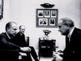 President Lyndon Johnson meets with U.S. Ambassador Marshall Green.