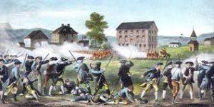 A depiction of the Battle Lexington on April 19, 1775.