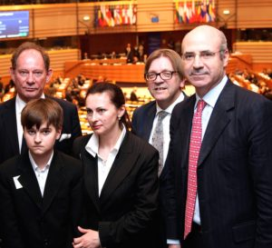 Financier William Browder (right) with Magnitsky's widow and son, along with European parliamentarians.