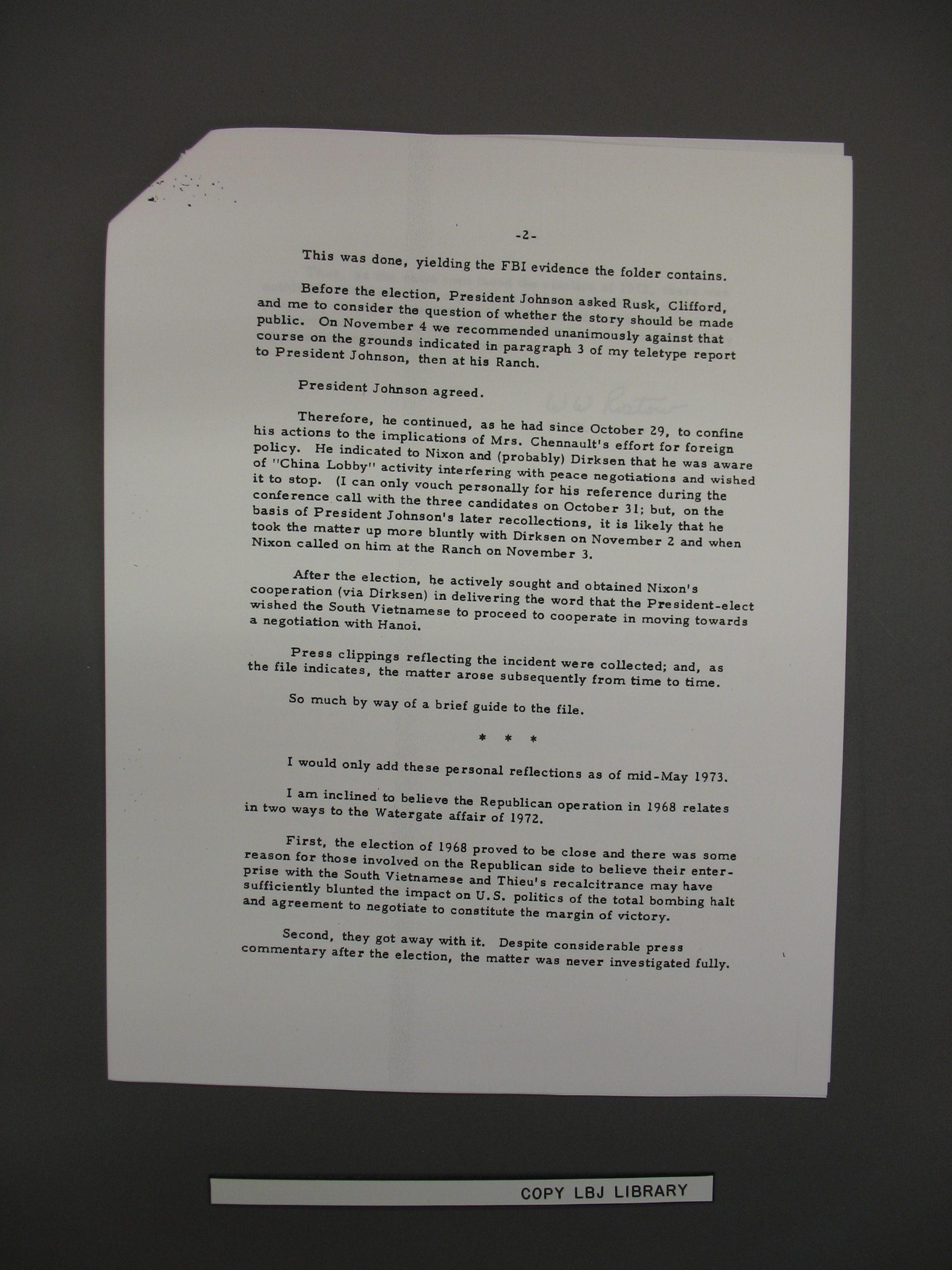 Lbjs X File On Nixons Treason Consortiumnews