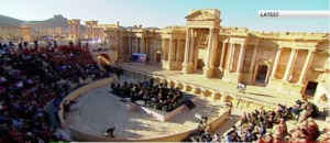A Russian orchestra performing at Palmyra's Roman theater on May 5, 2016, after Syrian troops, backed by Russian air power, reclaimed the ancient city from the Islamic State. (Image from RT's live-streaming of the event.)
