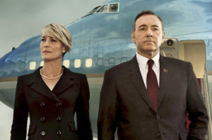 "From ""House of Cards,"" President Frank Underwood (played by Kevin Spacey) and his wife, Claire (played by Robin Wright)."