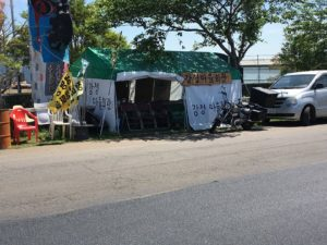 Gangjeong Village moved its City Hall to a tent across from the Navy base in protest. (Photo by Ann Wright)
