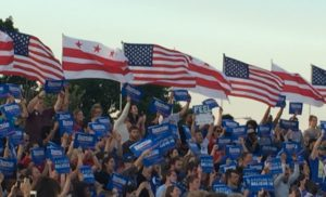 American and District of Columbia flags at Bernie Sanders rally in Washington D.C. on June 9, 2016. (Photo credit: Chelsea Gilmour)