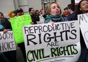 Protesters demanding a woman's right to control her own body.