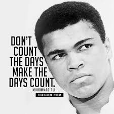Muhammad Ali, pictured with one of his famous quotes.