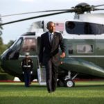 President Barack Obama walks from Marine One on arrival on the White House's South Lawn, July 5, 2016, a few days before leaving to attend the NATO Summit in Warsaw, Poland. Official White House photo by Lawrence Jackson