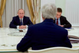 U.S. Secretary of State John Kerry listens to Russian President Vladimir Putin in a meeting room at the Kremlin in Moscow, Russia, at the outset of a bilateral meeting on July 14, 2016. [State Department Photo]