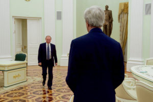 U.S. Secretary of State John Kerry waits for Russian President Vladimir Putin in a meeting room at the Kremlin in Moscow, Russia, before a bilateral meeting on July 14, 2016. (State Department photo)