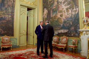 U.S. Secretary of State John Kerry chats with Russian Foreign Minister Sergey Lavrov outside a room in the Russian Foreign Ministry's Osobnyak Guesthouse in Moscow, Russia, on July 15, 2016. [State Department Photo]