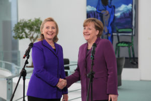 U.S. Secretary of State Hillary Rodham Clinton is welcomed by German Chancellor Angela Merkel at the Federal Chancellery in Berlin, Germany, on April 14, 2011. [State Department photo/ Public Domain