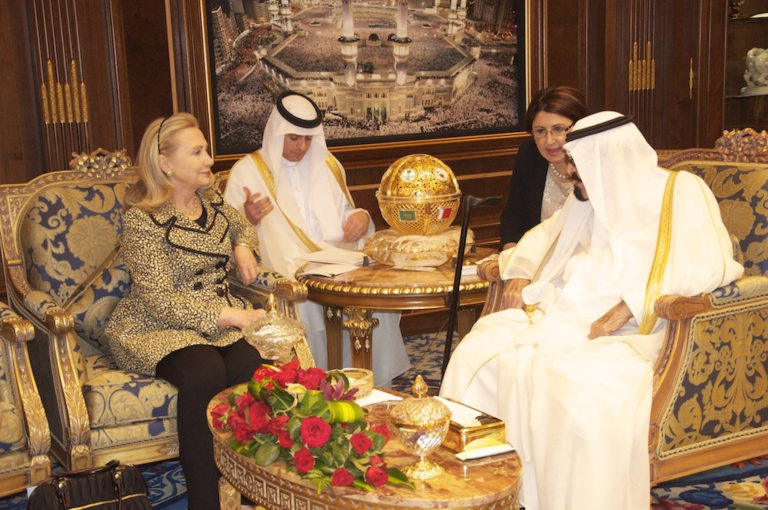 U.S. Secretary of State Hillary Clinton meets with Saudi King Abdullah in Riyadh on March 30, 2012. (State Department)
