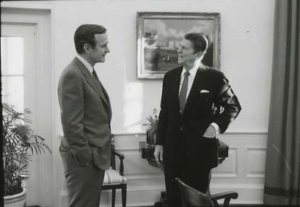 President Reagan meets with Vice President George H.W. Bush on Feb. 9, 1981. (Photo credit: Reagan Presidential Library.)