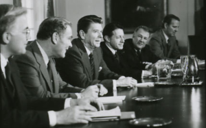 President Ronald Reagan leading a meeting of the Interagency Committee on Terrorism, Jan. 26, 1981. (photo credit: Reagan library)