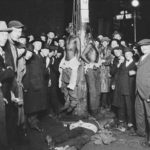 Post card photo of the lynching of Elias Clayton, Elmer Jackson and Isaac McGhie in  Duluth, Minnesota, June 15. 1920.