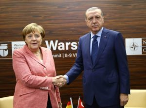 Turkish President Recep Tayyip Ergogan meeting with German Chancellor Angela Merkel.