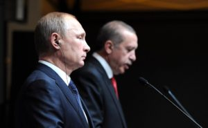 Russian President Vladimir Putin and Turkish President Recep Tayyip Erdogan at a press conference in Turkey on Dec. 1, 2014. (Russian government photo)