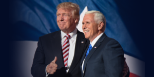 Donald Trump and Mike Pence during Day Three of the Republican National Convention. (Photo credit: Grant Miller/RNC)