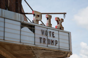 "The run-down PIX Theatre sign reads ""Vote Trump"" on Main Street in Sleepy Eye, Minnesota. July 15, 2016. (Photo by Tony Webster Flickr)"