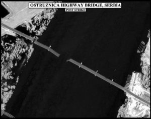 NATO image of its destruction of the Ostruznica highway bridge hit during the bombing campaign against Yugoslavia.