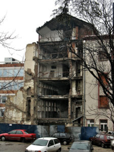 Ruins of the Serb TV network destroyed by NATO bombing on April 23, 1999. (Photo via Wikipedia)