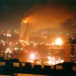 Image of Belgrade, Yugoslavia, after a NATO bombing raid in 1999.