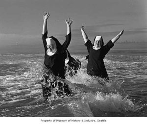 Nuns at the beach. (Photo credit: Museum of History and Industry, Seattle)