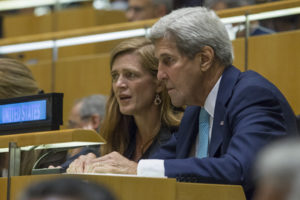 United States Secretary of State John Kerry with Samantha Power, US Permanent Representative to the UN, during the general debate of the General Assembly's seventy-first session. 20 September 2016 (UN Photo)