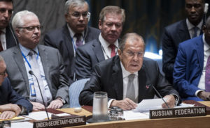 Sergey V. Lavrov, Minister for Foreign Affairs of the Russian Federation, addresses a high-level meeting of the Security Council on the situation in Syria on Sept. 21, 2016 (UN Photo)