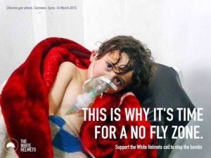 Un'immagine di propaganda straziante progettato per giustificare una grande operazione militare degli Stati Uniti all'interno della Siria contro l'esercito siriano.