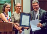 Former CIA officer John Kiriakou (right) receiving 2016 Sam Adams Award for Integrity from Elizabeth Murray (left) and Coleen Rowley on Sept. 25, 2016, in Washington, D.C. (Photo credit: Linda Lewis)