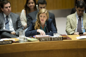 Samantha Power, Permanent Representative of the United States to the UN, addresses the Security Council meeting on Syria, Sept. 25, 2016 (UN Photo)