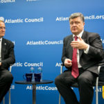 Ukraine's anti-Russian President Petro Poroshenko speaking to the Atlantic Council in 2014. (Photo credit: Atlantic Council)
