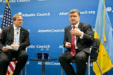 Ukraine's anti-Russian President Petro Poroshenko speaking to the Atlantic Council in 2014. (Photo credit: Atlantic Council)