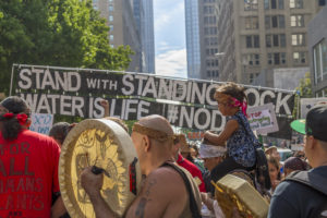 Activists gather in Seattle to protest the Dakota Access Pipeline, September 2016. (John Duffy Flickr)