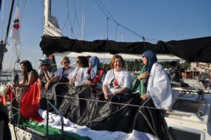 Participants in the Women's Boat to Gaza protest against the nine-year-old Israeli blockade of Gaza.