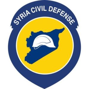 "The ""White Helmets"" symbol, expropriating the name of ""Syria Civil Defense."""
