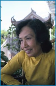 "Trinh Thi Ngo, the Vietnam War's ""Hanoi Hannah"" during an interview with Don North on the Rex Hotel rooftop bar in Ho Chi Minh City (or Saigon) in 1978. (Photo credit: Don North)"