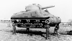 An inflatable tank used by Allies in World War II to deceive German intelligence regarding the location of military forces.